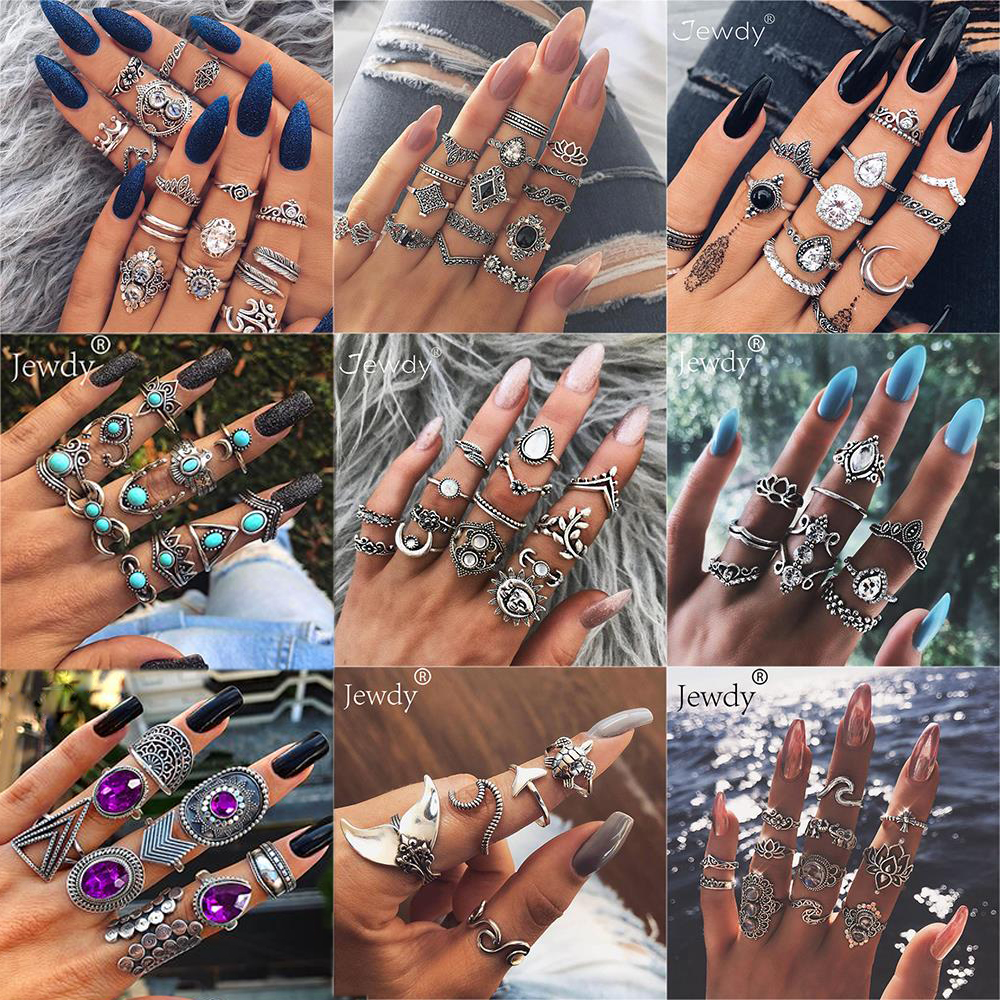 40 Styles Women Bohemian Vintage Crown Wave Flower Heart Lotus Star Leaf Crystal Opal Joint Ring Party Jewelry Silver Rings Set