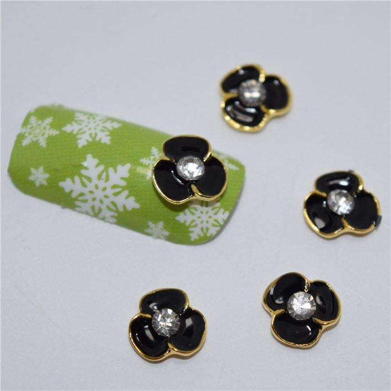 ᐂ10psc nuevo negro flores 3D Manicura Decoración, aleación clavo ...