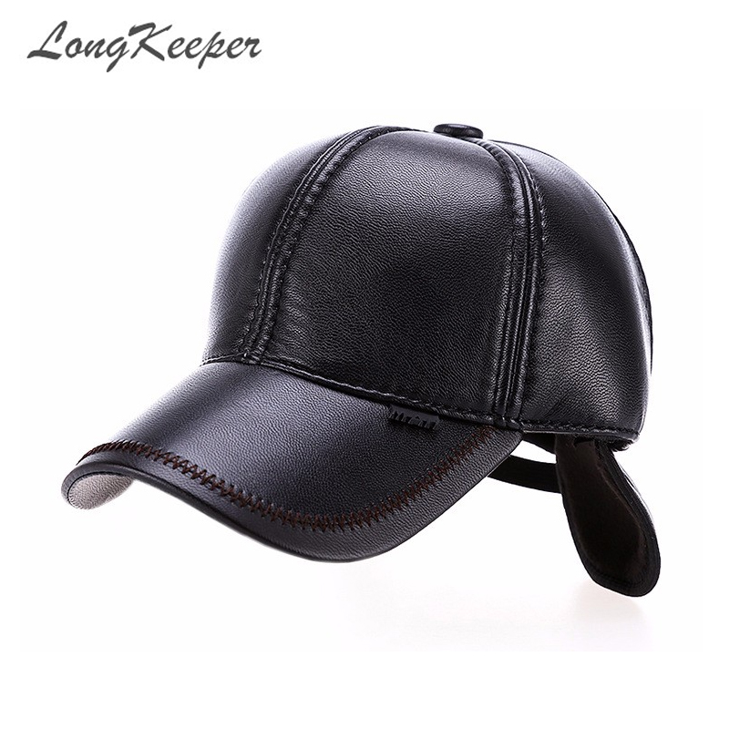 d6c57db442c LongKeeper High Quality Faux Leather Hat Genuine Winter Baseball Cap  Adjustable for Men Black Hats Free Shipping OT6-in Baseball Caps from Men s  Clothing   ...