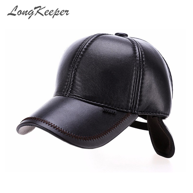 LongKeeper High Quality Faux Leather Hat Genuine Winter Baseball Cap  Adjustable for Men Black Hats Free b0bedd08301a