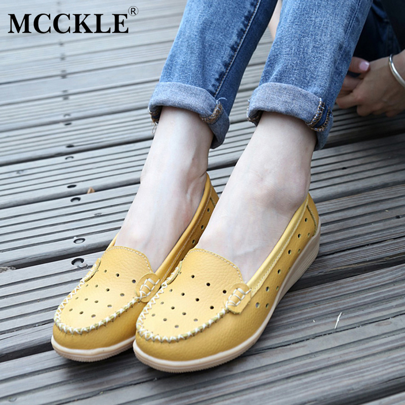 MCCKLE 2017 Women's Shoes Female Casual Platform Slip On Woman Fashion Cut-Outs Low-Heels Black Wedges Plus Size Moccasins mcckle women high heels ankle boots female buckle slip on suede shoes woman platform spring autumn casual shoes black size 35 39