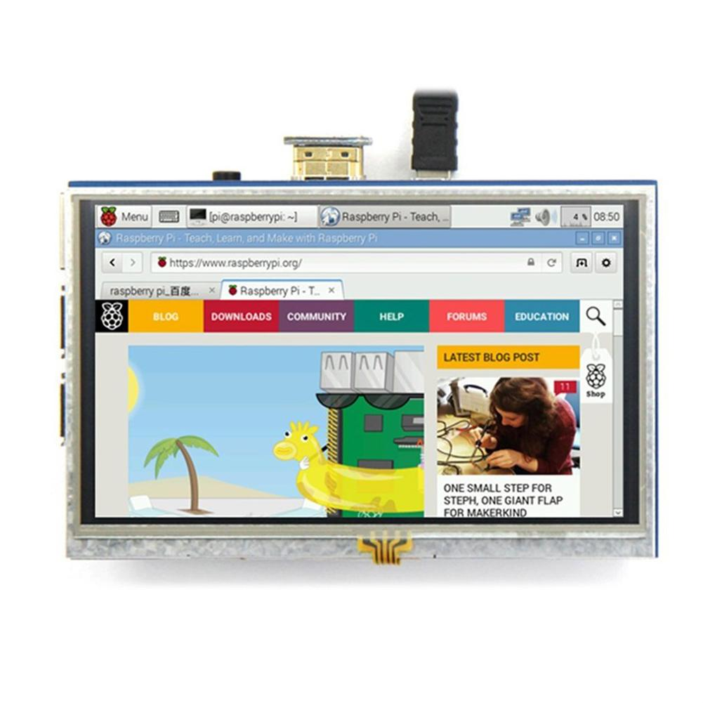 5 Inch Touch LCD Screen <font><b>Display</b></font> Mini PC for <font><b>Raspberry</b></font> <font><b>Pi</b></font> 1/2/3 Model B+ B USB <font><b>Capacitive</b></font> Touch screen image