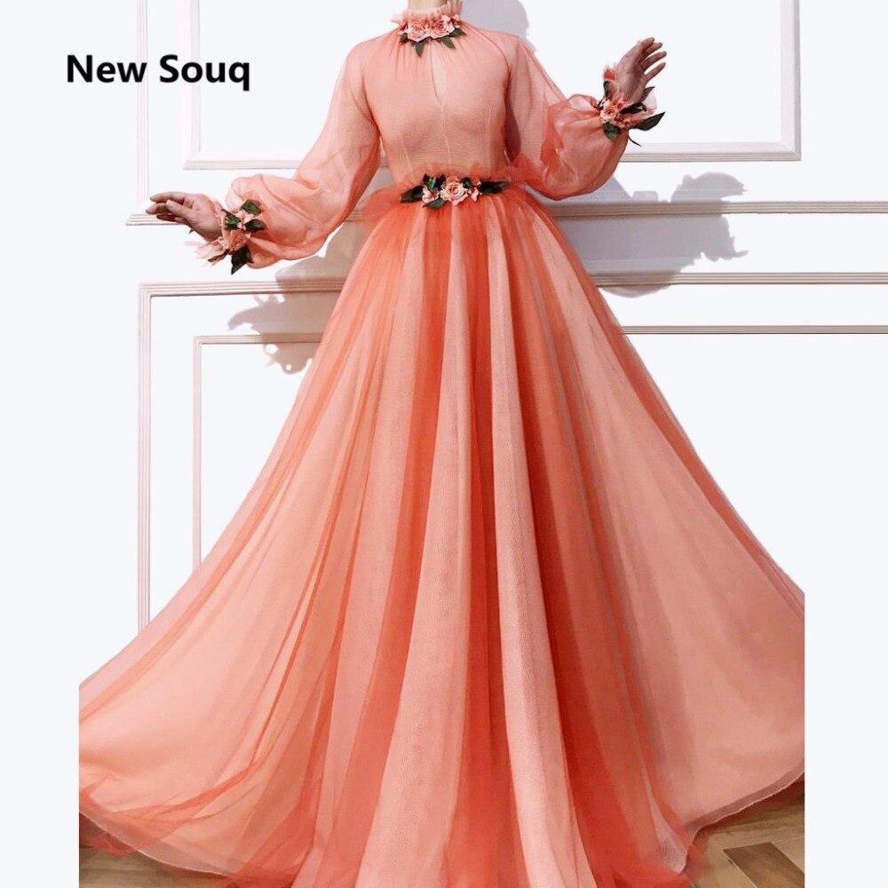 Blush Rosa Suave Tulle vestido de Verão Uma Linha de Vestidos de Noite Flor Rosa Gola Alta Mangas Compridas Moda Vestido de Baile Desgaste Do Partido Personalizado - 3