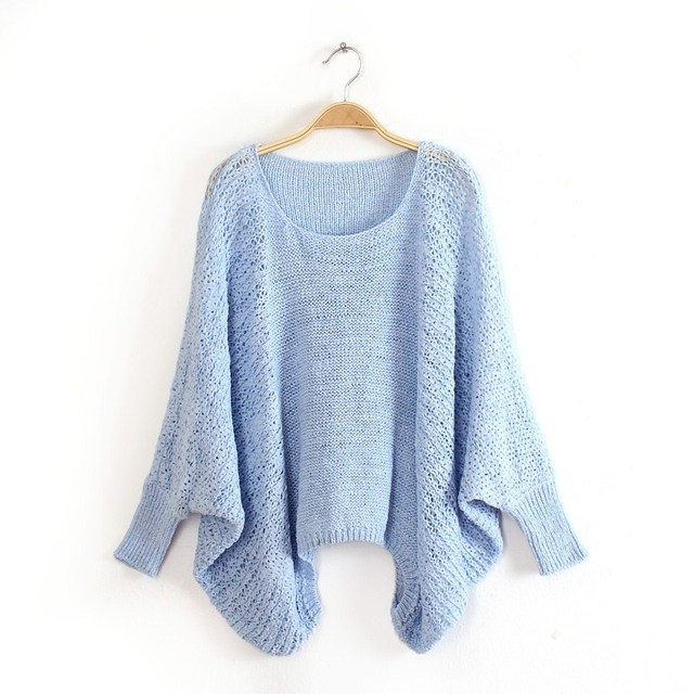 d2922ffd80ab81 Korean Style Women Sweaters and Pullovers Batwing Sleeve Loose Thin  Oversize Jumpers Spring Autumn Knitting Tops Female Clothing