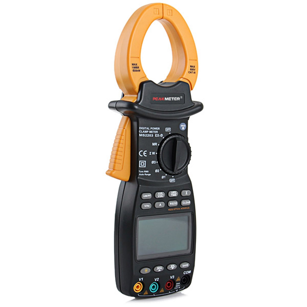 PEAKMETER MS2203 Digital Clamp Meter 3 Phase TRMS AC Current Voltage Meter Power Correction Multimeter Reactive Power Frequency zipabox power current clamp 35a