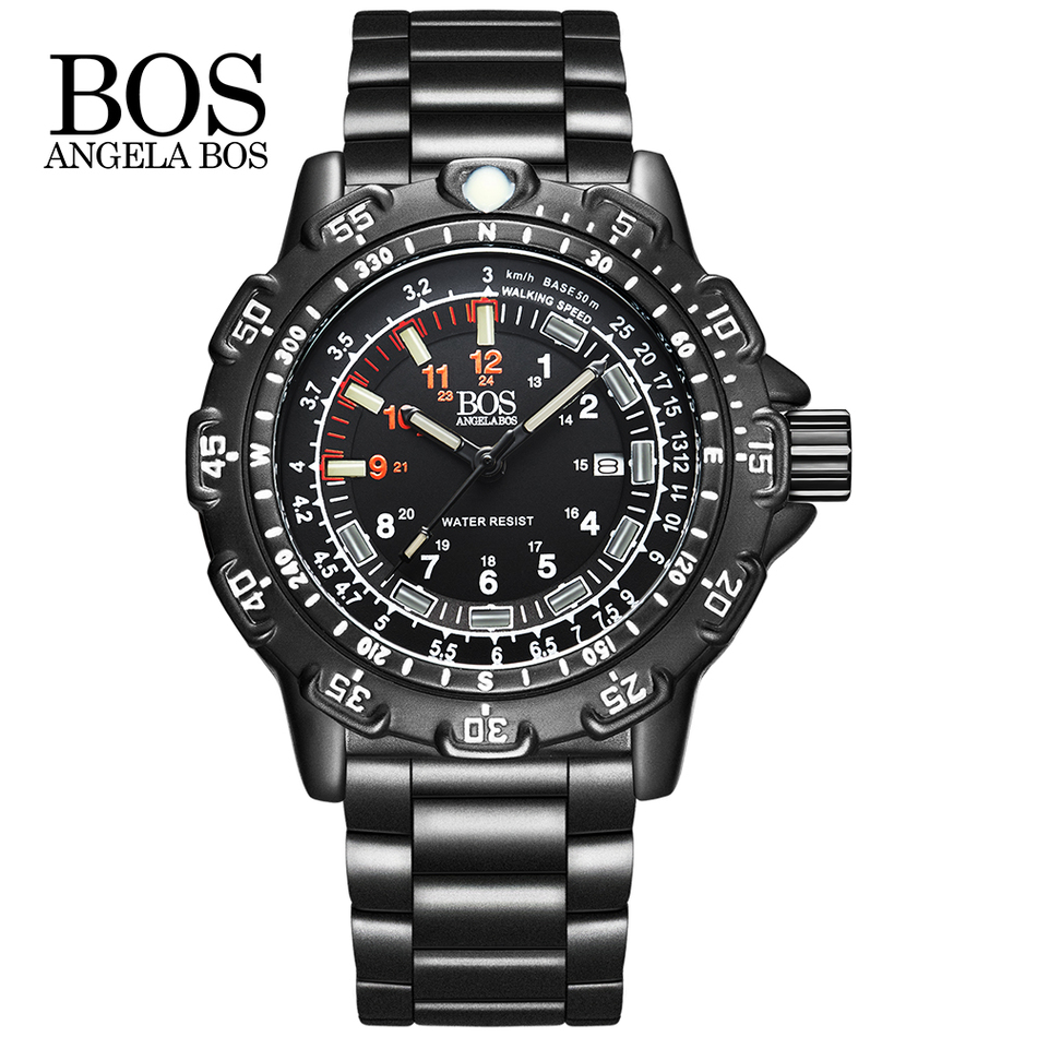 ANGELA BOS Military Super Luminous Watch Men Multifunction Rotary Dial Compass Army Alloy Silicone Luxury Watch Men Famous Brand цена и фото