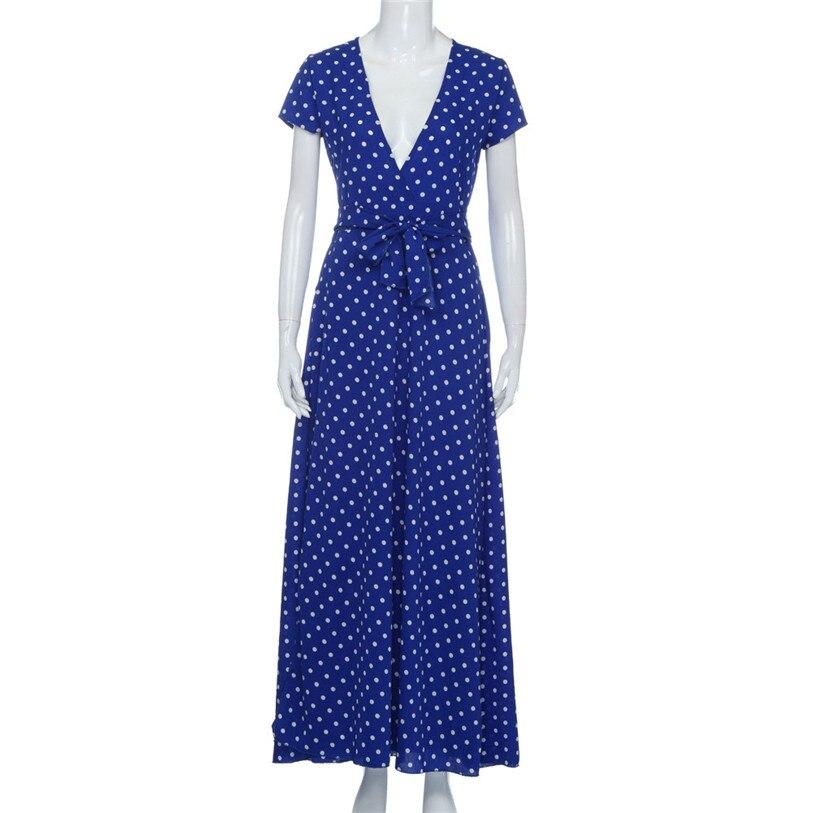 Hot ! Women Dress 2018 New Fashion Women Summer Boho Long Evening V Neck Party  Dress Beach Dress Sundress S 2XL Size July 7-in Dresses from Women s  Clothing ... ac8807344a8f