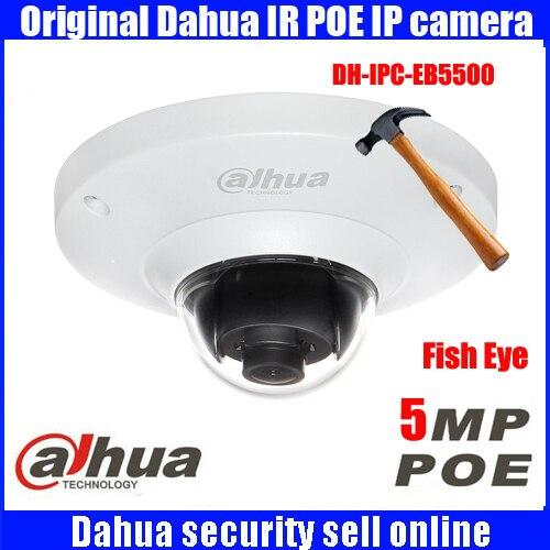 imágenes para Original Dahua Reciente FISHEYE 5MP Full HD A Prueba de Vandalismo del IP de La Cámara W/POE DH-IPC-EB5500 IPC-EB5500 EB5500 Mini IR Domo IP cámara