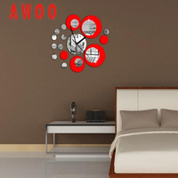 Wall Sticker 2017 Hot New Modern Circles Acrylic Mirror Style Wall Clock Removable Decal Art St