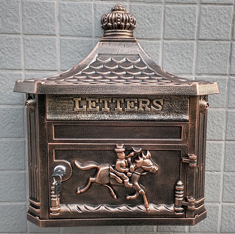 multi-color Apartment Vintage Garden outdoor mailbox Bronze Cast Iron postbox newspaper mailbox Wall hanging Garden decorations