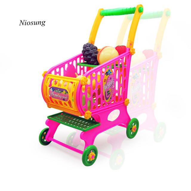 New Kids Children Toys Simulation Shopping Cart Vegetables Fruits Food Pretend Play