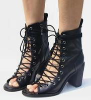 Fashion Rome Lace up Women Peep Toe Ankle Boots Concise Solid Cut Out Zipper Casual Summer Boots Cross Tied Pumps Heel Sandals