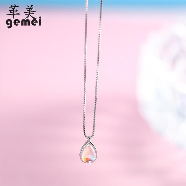Gemei 100% 925 Sterling Silver Natural Stone Moonstone Water Drop Necklaces & Pendants For Women Simple Fashion Party Jewelry