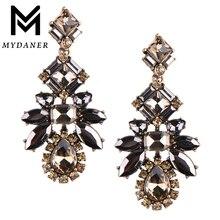 MYDANER 2017 Hyperbole Unique Bridal Long Dangle Earrings Black Color Full Crystal Drop Earrings for Women Lady Fashion Jewelry