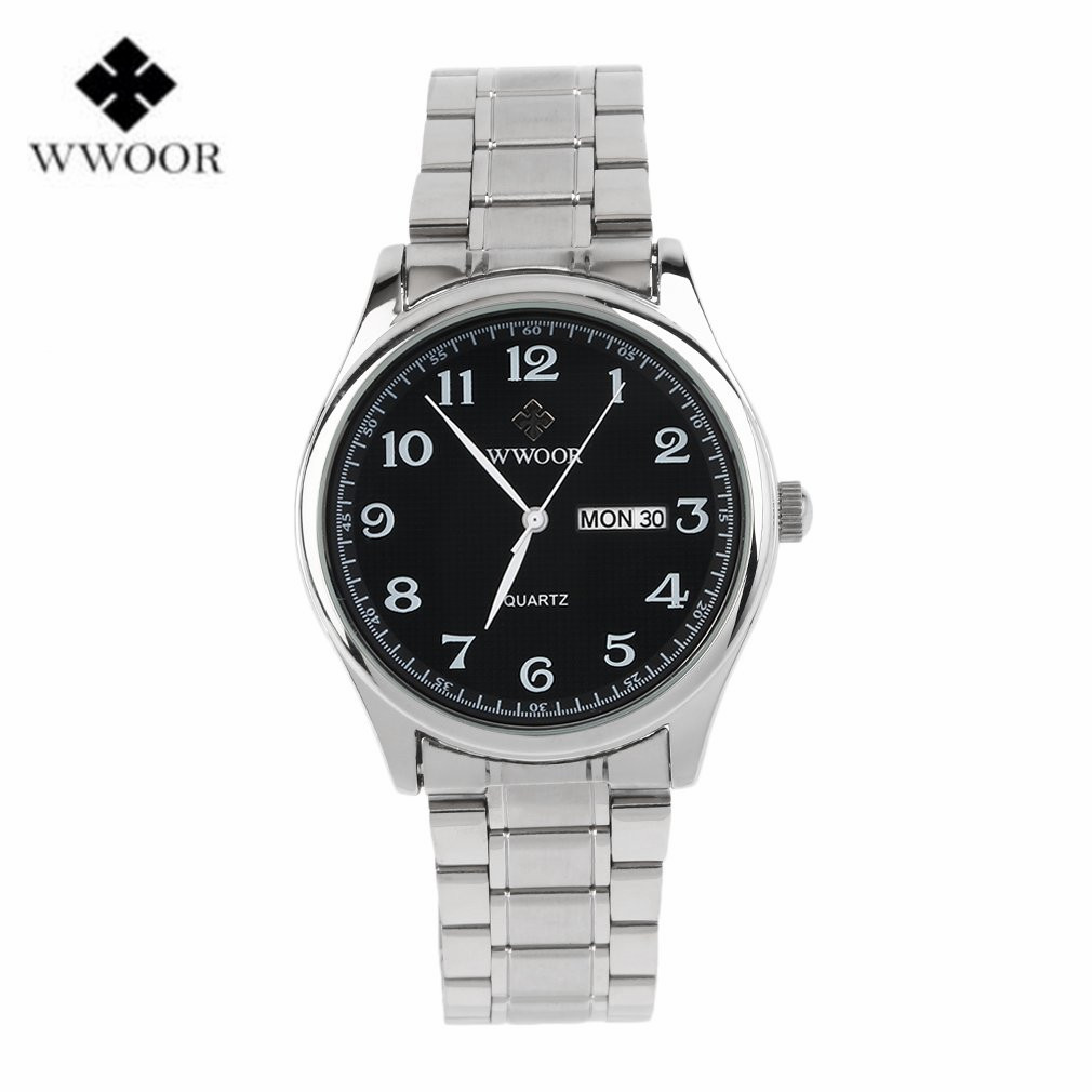 Wwoor lover couple stainless steel quartz wrist watches analog date clock male casual sport watches men
