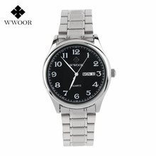 WWOOR Lover Couple Stainless Steel Quartz Wrist Watches Analog Date Clock Male Casual Sport Watches Men Women Relogio Masculino