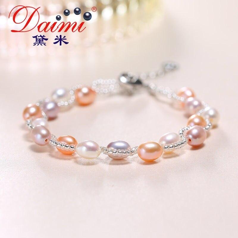 220229aa0336 DAIMI Multi pulsera de perlas de moda mezclado pulsera de 6-7mm ...