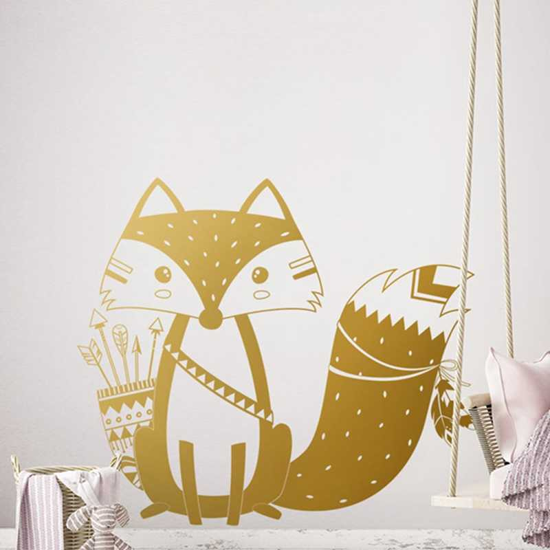אלוהים שבטי שועל מדבקות קיר חמוד וודלנד שועל קיר מדבקה לילדים חדר משתלת קיר אמנות קעקוע ויניל ציורי קיר