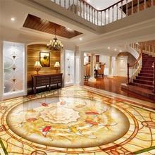Custom murals wallpapers 3D ultra-high-definition European pvc self adhesive wallpaper for living room 3D floor tile painting