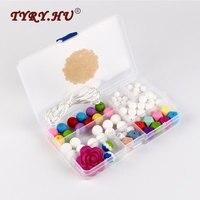 TYRY HU Silicone Beads Choker Pacifier Clip DIY Silicone Set Baby Teething Beads Nursing Chew Jewelry