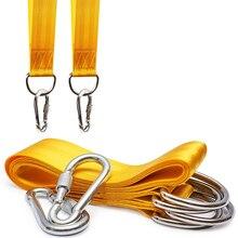 Balanço de segurança entregando corda balanço & rede pendurado kit cintas com ganchos resistentes (amarelo)