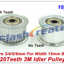 10pcs 20 Teeth 3M Idler Pulley Passive Pulley Bore 3/4/5/6mm For Width 15mm 3M Timing Belt 3M Tension Pulley With Bearing
