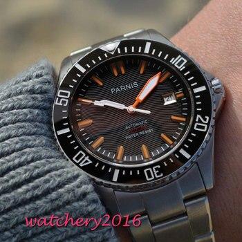 ab265bf1d9ee 43mm Parnis Dial negro cristal de zafiro mejor barato fecha de venta  automática reloj de buzo impermeable 200 m de Metal de los hombres  mecánicos relojes