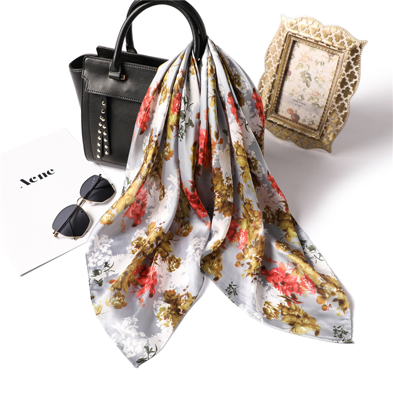 2019 Women Square Silk Scarf Foulard Lady Hair Neck Scarfs Shawl Floral Printing High Quality Scarves Hijab in Women 39 s Scarves from Apparel Accessories