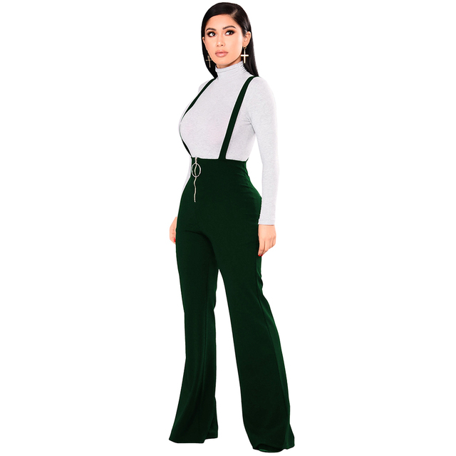 94eb514b15d Women Dungarees Overalls Bell-bottomed High Waist Suspender Trousers O-ring  Zipper Flared Casual