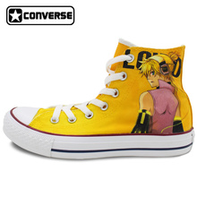 Yellow Converse Chuck Taylor Women Men Shoes Anime Vocaloid Kagamine Rin Custom Design High Top Hand Painted Canvas Sneakers