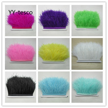 5-10 meter fluffy beautiful ostrich feathers trim cloth with 8-10cm wide skirt / dress party DIY crafts