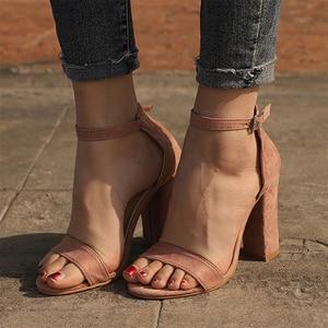 Image 2 - STAN SHARK Summer Women Flock Square Heel Sandals High Heels Buckle Strap Female Woman Dress Sandal Shoes For Girls Plus Size