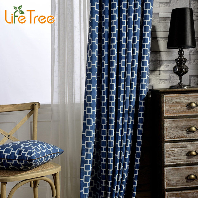 Curtains Ideas bedroom drapes and curtains : Modern Navy Blue Linen Curtains For Living Room Mediterranean ...