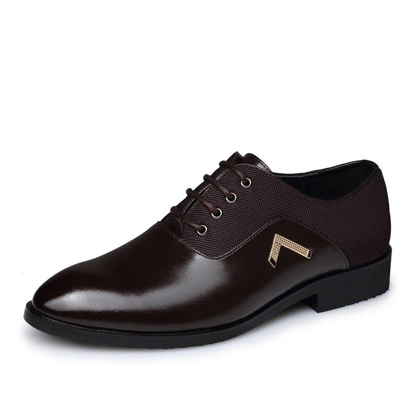 Bout Chaussures Richelieus Noir Up Appartements Lace En De Pointu Mâle marron jaune Mariage 2018 Cuir Robe Printemps Hommes Respirant D'affaires qwpqx4E8