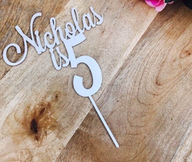 Rose Gold Custom Name Happy Birthday Cake Topper Personalized Gifts Childrens Party Decorations