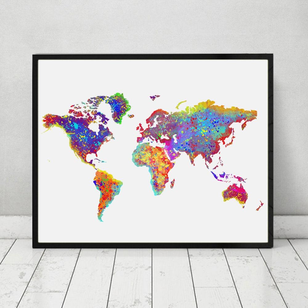 Verrassend Wereld Poster Aquarel Wereldkaart Muur Art Wall Opknoping Kaart FZ-08