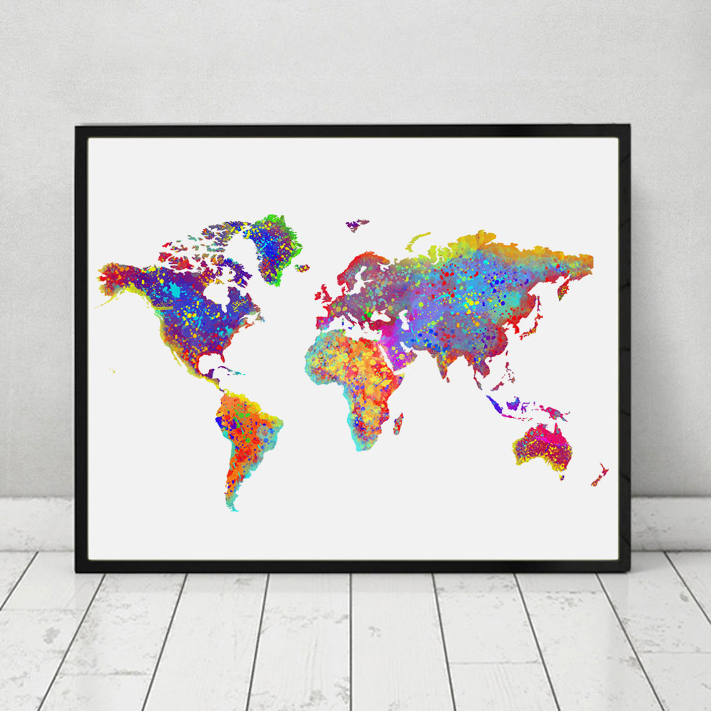 buy world map poster watercolor world map wall art wall hanging map decor paper. Black Bedroom Furniture Sets. Home Design Ideas