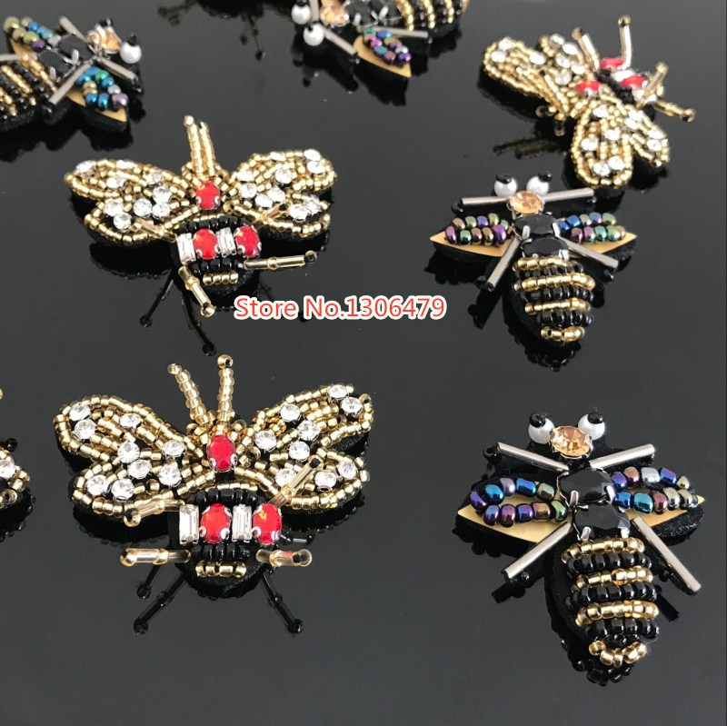 5pcs/lot exquisite Handmade Beaded bee cloth paste Can be used for the decoration of the ...