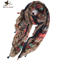 [Marte&Joven] Floral Print Ethnic Style Wrap and Scarf for Women Outdoor Casual Oversized Bandana and Foulard Summer Beach Shawl