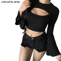 JYConline Fashion Hollow Women Tops Autumn Flare Sleeve T Shirts Female Cropped Top Black Slim Women