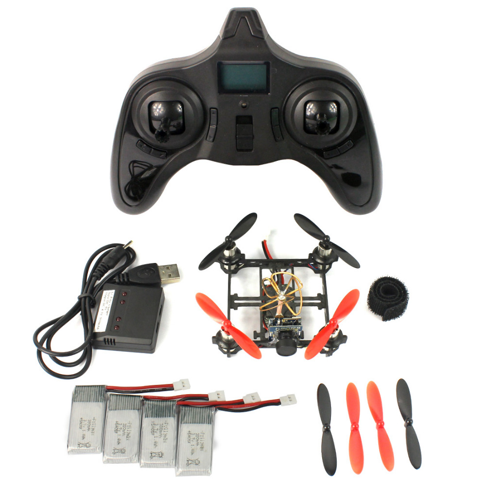 Mini Tiny QX80 FPV DIY Drone with 5.8G 25mW Camera 80mm Carbon Brushed Indoor RC Quadcopter RTF Assemble Kit Full Set