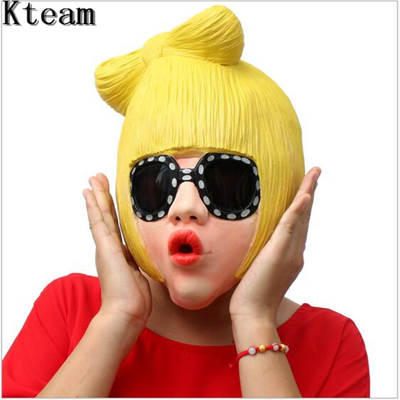 Top Grade Lady Gaga Party Halloween Latex Mask Cosplay Costume Full Face Mask Woman Man Children Mask Anonymous Masquerade Mask