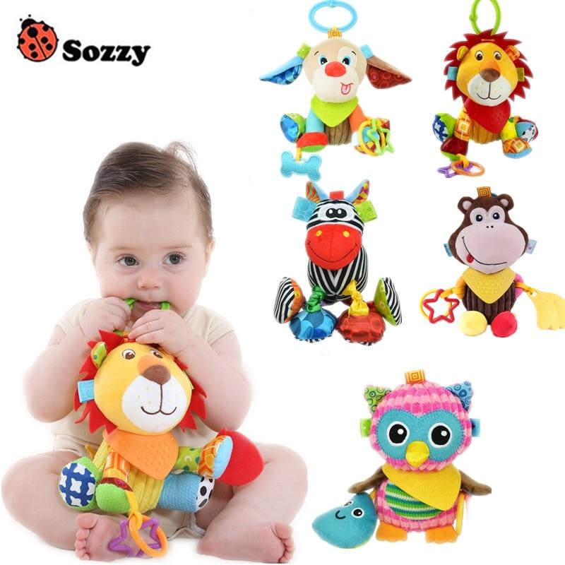 Sozzy Baby Toys Egészségügyi anyagok Kényelmes, újszülött gyermekjátékok 0-12 hónapos kiságy vagy babakocsi plüss szörnyű játékok