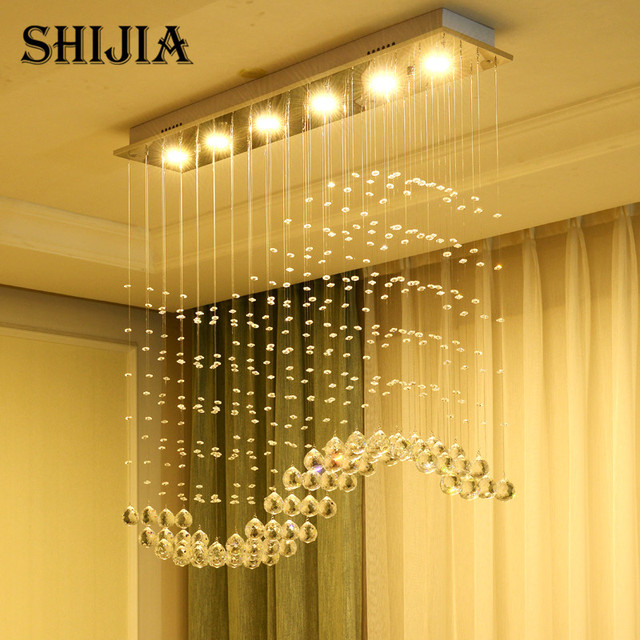 Modern wave k9 crystal chandelier for dining room led crystal ball s modern wave k9 crystal chandelier for dining room led crystal ball s shade hanging fixture rain aloadofball Images