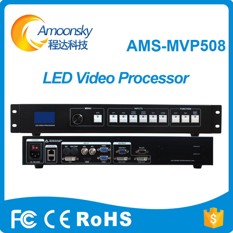 led fixed display indoor outdoor video processor AV DVI VGA HDMI input support 2 sending card led screen video processor
