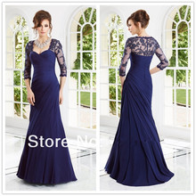 2015 New Arrival Formal Dress Elegant Sexy Sweetheart Long Sleeve Lace appliques Beaded Royal Blue Long Evening Dress party Gown