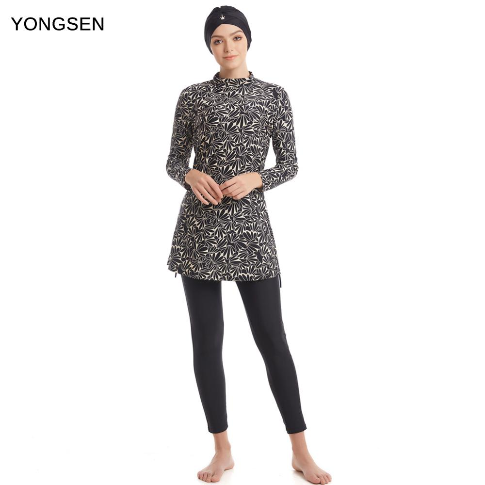 YONGSEN Modest Muslim Swimsuit Burkinis Full Cover Islamic Arab Long Sleeve Swimming Set Bearwear Hijab Bathing Suit Swimwear