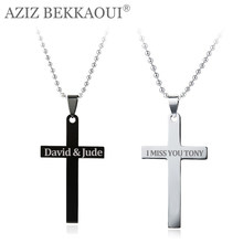Stainless Steel Cross Pendant Necklaces for Women Men Unique Customized Logo Name Pendant Christian Jewelry Best Christmas Gift(China)