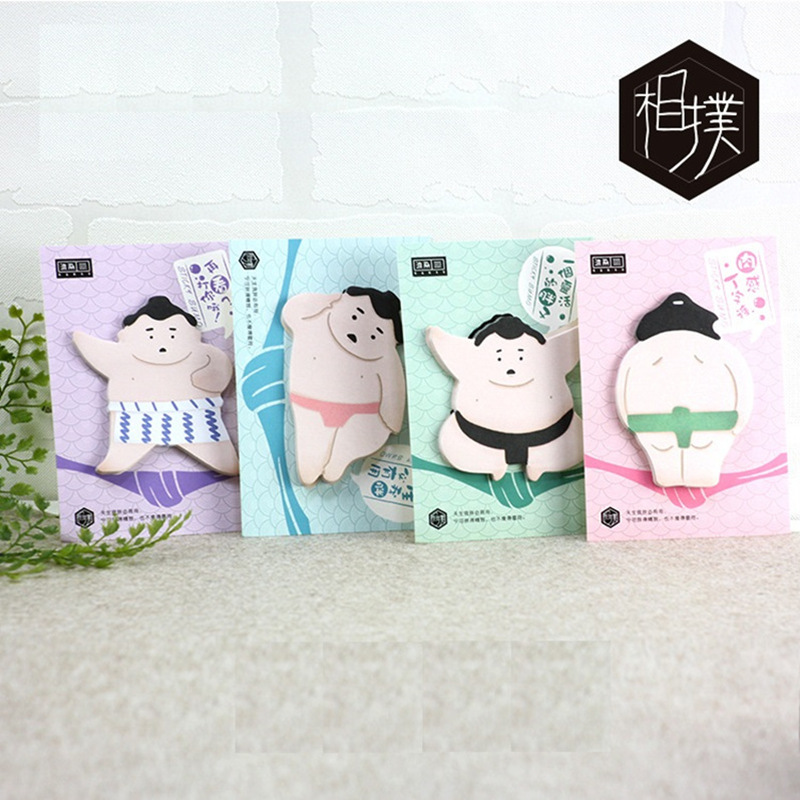 4 pcs/Lot Japanese sumo sticky note and memo pad Posted guestbook Self-adhesive bookmark Office supplies Material escolar CM644