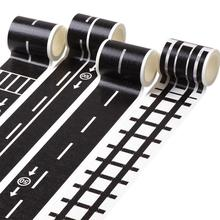 Eco Friendly Black White Washi Tape Adhesive Railway Road Washi Tapes,wide Traffic Sticky Paper Stationery Tape For Kids Toy 48mmx5m railway road washi tape wide creative traffic road adhesive masking tape road for kids toy car play